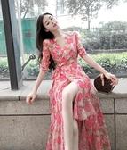 洋裝 2021春夏新款粉色碎花雪紡連身裙女甜美紅白花沙灘裙海邊度假長裙