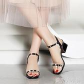 年新款慕達芙妮姿一字帶紅色涼鞋女夏季中跟粗跟時尚女鞋