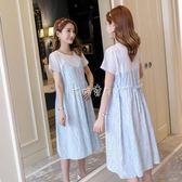 孕婦裙子 孕婦裝洋裝韓版時尚拼接純棉碎花孕婦裙子 珍妮寶貝