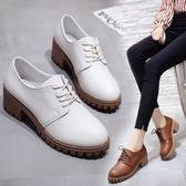 英倫復古女娃娃鞋 大東秋季新款英倫風粗跟小皮鞋百搭女鞋厚底復古休閒繫帶單鞋 99