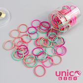 UNICO 兒童 少髮量基本款做造型最佳100條髮圈/髮繩罐裝-亮彩款