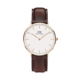 【Daniel Wellington】CLASSIC瑞典時尚品牌經典簡約真皮腕錶-深咖棕x玫金-36mm/DW00100039/原廠兩年保固