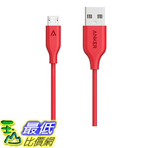 [106美國直購] Anker PowerLine Micro USB(3ft)-充電線 傳輸線 Durable Charging Cable with Aramid Fiber(Red)
