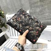 手拿包男士手包潮男韓版時尚大容量信封包圖案布個性男包 快意購物網