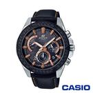 CASIO卡西歐 經典格紋皮革太陽能時計男腕錶-黑x48mm EQS-910L-1A