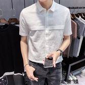 夏季新款短袖亞麻襯衫男士白色修身