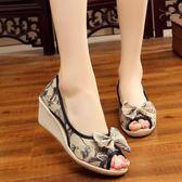 春夏新款老北京布鞋蝴蝶結印花亞麻坡跟魚嘴露趾女鞋透氣涼鞋單鞋