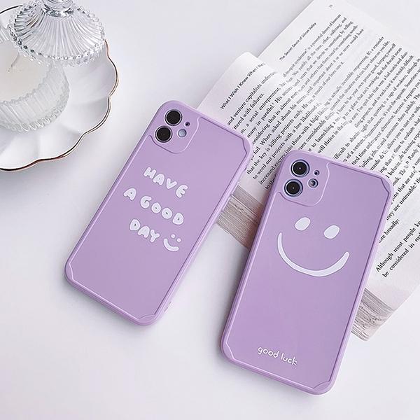 iPhone12 蘋果手機殼 預購 可掛繩 紫色控簡約笑臉英文 矽膠軟殼 i11/iX/i8/i7/SE