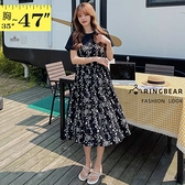 連身裙--小碎花絲綢拼接腰間抽繩綁帶多層次蛋糕裙擺圓領短袖洋裝(黑L-3L)-D617眼圈熊中大尺碼◎