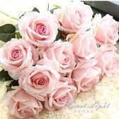 假花 單支模擬玫瑰花假花套裝高檔客廳餐桌裝飾花幹花花束擺件擺設花藝 果果輕時尚