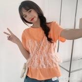 夏季新款蕾絲拼接假兩件上衣服女寬鬆收腰甜美短袖t恤打底衫 檸檬衣舍