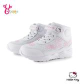 【正版授權】Hello kitty 凱蒂貓 中童 高筒休閒鞋靴 電燈鞋 H7864#白色◆OSOME奧森鞋業