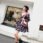 新款女裝裙子拼接印花寬鬆休閒長袖連身裙女短裙百褶裙