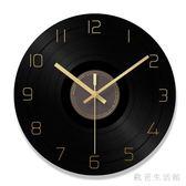 黑膠唱片掛鐘 客廳圓形創意時鐘表簡約現代個性大氣家庭靜音石英鐘 zh5514 【歐爸生活館】