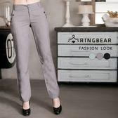 加大尺碼--簡約時尚俐落質感口袋側排釦裝飾修身西裝褲(黑.灰.綠XL-7L)-P98眼圈熊中大尺碼