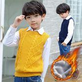 男童針織衫馬甲秋冬季新品上市新款加絨加厚純棉韓版兒童保暖背心童裝 任選一件享八折