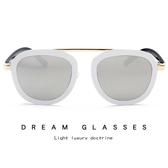 方形太陽鏡 金色單梁時尚墨鏡 金屬太陽眼鏡【五巷六號】y38