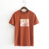 短袖T恤-油畫純色休閒百搭時尚女上衣4色73sy39【巴黎精品】