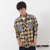 BIG TRAIN 素面布配格襯衫-男-黃黑格