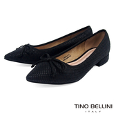 Tino Bellini 幾何格紋小蝴蝶結微跟包鞋 _ 黑 FS8505