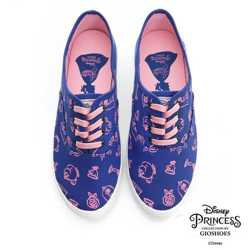 DISNEY 美女與野獸系列 手繪圖案綁帶休閒鞋-藍(女)
