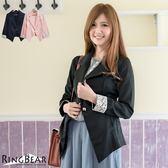 西裝外套--俐落知性修身剪裁袖口布蕾絲西裝外套(黑.粉XL-5L)-J285眼圈熊中大尺碼