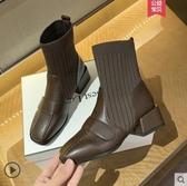 襪靴 馬丁靴女英倫風2020年新款短靴子秋冬百搭粗跟瘦瘦靴彈力襪靴 韓國時尚週