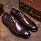英倫雕花男鞋布洛克真皮尖頭韓版固特異手工男士商務正裝皮鞋婚鞋 蜜拉貝爾