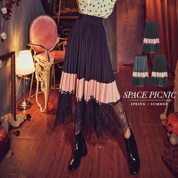 長裙 Space Picnic 色塊拼接蕾絲百摺腰鬆緊長裙(現貨)【C18102079】