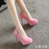 12公分粉色淺口絨面高跟鞋細跟花朵單鞋女婚鞋防水臺甜美公主鞋 qf6253【小美日記】