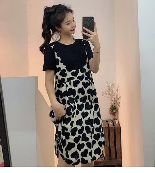 XL-5XL胖妹妹大碼洋裝連身裙~9070#愛心雪紡連身裙女小個子年拼接假兩件套2F124愛尚布衣