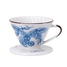 金時代書香咖啡 V01 日式手繪陶瓷咖啡濾器 - 藍染葡萄 HG5548D