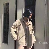 牛仔外套—復古港風chic麻葉雙色工裝夾克男女同款寬鬆bf牛仔外套情侶款上衣 Korea时尚记