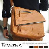 現貨【TRICKSTER】日本品牌 斜背包折疊包 A4 大尺寸 側背包 復古皮革感 都會潮流【tr52】