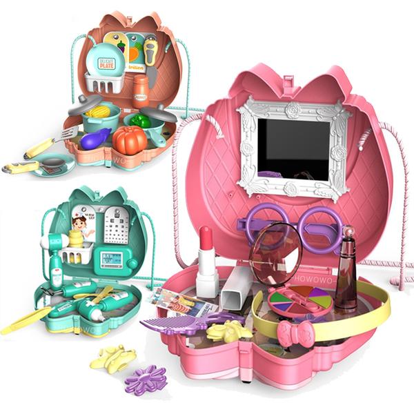 扮家家酒玩具 手提箱 可肩背 收納箱 家家酒 切切樂 化妝包 兒童廚房 醫生玩具 益智玩具 1203