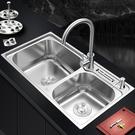 304不銹鋼廚房水槽雙槽水池一體加厚手工...