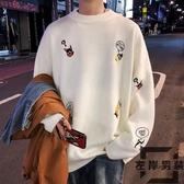 oversize卡通毛衣慵懶風長袖上衣內搭針織衫【左岸男裝】