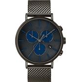 【萬年鐘錶】TIMEX INDIGLO冷光面板 Fairfield  經典米蘭 灰錶帶 灰黑錶面  41mm TW2R98000