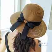 遮陽帽 沙灘草帽女夏天海邊小清新大帽檐防曬遮陽帽子百搭太陽帽大沿涼帽 3色