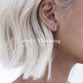 early Morning - 鈦鋼 一字耳環 極簡 鍍18K玫瑰金 防過敏 鋼【IS009】