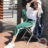 運動褲運動闊腿褲女學生韓版夏九分寬鬆原宿bf風褲子休閒束腳褲 【好康免運】