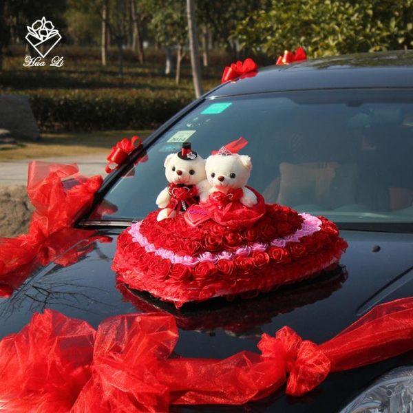 婚車對熊/婚車公仔熊/婚車裝飾用品/鮮花/婚紗禮服對熊 結婚熊 春生雜貨