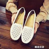 白色護士涼鞋夏季新款平底牛筋底媽媽鞋鏤空透氣防滑孕婦鞋女皮鞋『潮流世家』