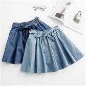 (全館一件免運費)DE SHOP~(ER-2130)輕甜氣質!附綁帶鬆緊腰傘襬牛仔褲裙(共2色)