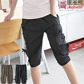 工作褲--造型感十足鬆緊褲頭裝飾釦多重口袋工作五分褲(黑.綠M-2L)-S63眼圈熊中大尺碼◎