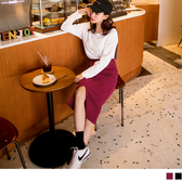 《CA1423-》優雅開衩素面中長窄裙 OB嚴選