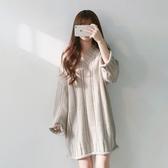 DE shop - V領長袖麻花中長版針織洋裝 - RT-5669