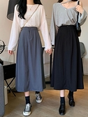 氣質黑色西裝裙子女裝秋季2021年新款高腰半身裙中長款顯瘦A字裙 貝芙莉