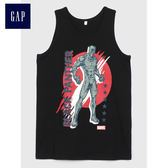 Gap男童 Marvel復仇者聯盟系列無袖上衣 兒童印花背心潮 487293-正黑色