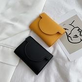 小紅書推薦簡約短款錢包女2021新款超薄小清新折疊搭扣零錢包卡包